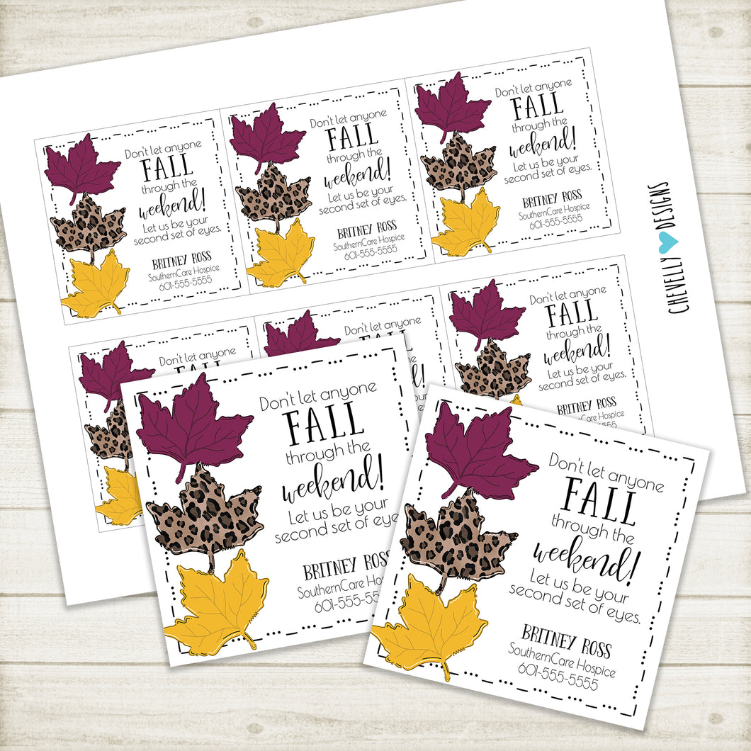 Personalized Home Health Gift Tags for Fall -  Printable Digital File
