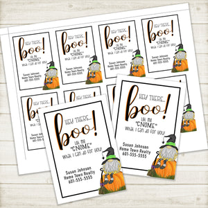 Personalized - Printable - Gnome Business Marketing Gift Tags for Halloween ***Printable Digital File***