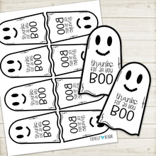 Load image into Gallery viewer, Printable - Thanks for all you BOO Ghost Gift Tags for Halloween - Instant Digital Download