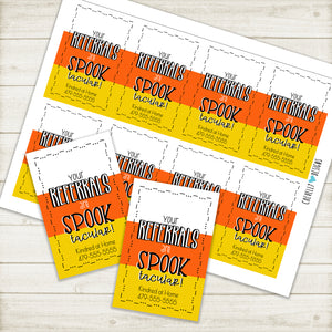 Personalized - Printable Digital File - Spook-tacular Referral Gift Tags ***Printable Digital File***