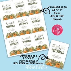 Personalized - Thankful for your Referrals - Printable Gift Tags ***Printable Digital File***
