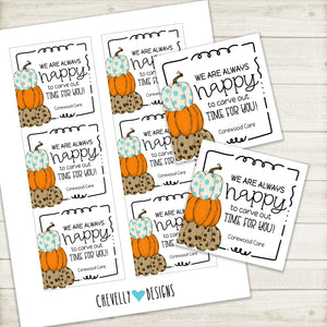 Personalized - Fall/Pumpkin - Always Have Time for You - Printable Business Gift Tags ***Printable Digital File***