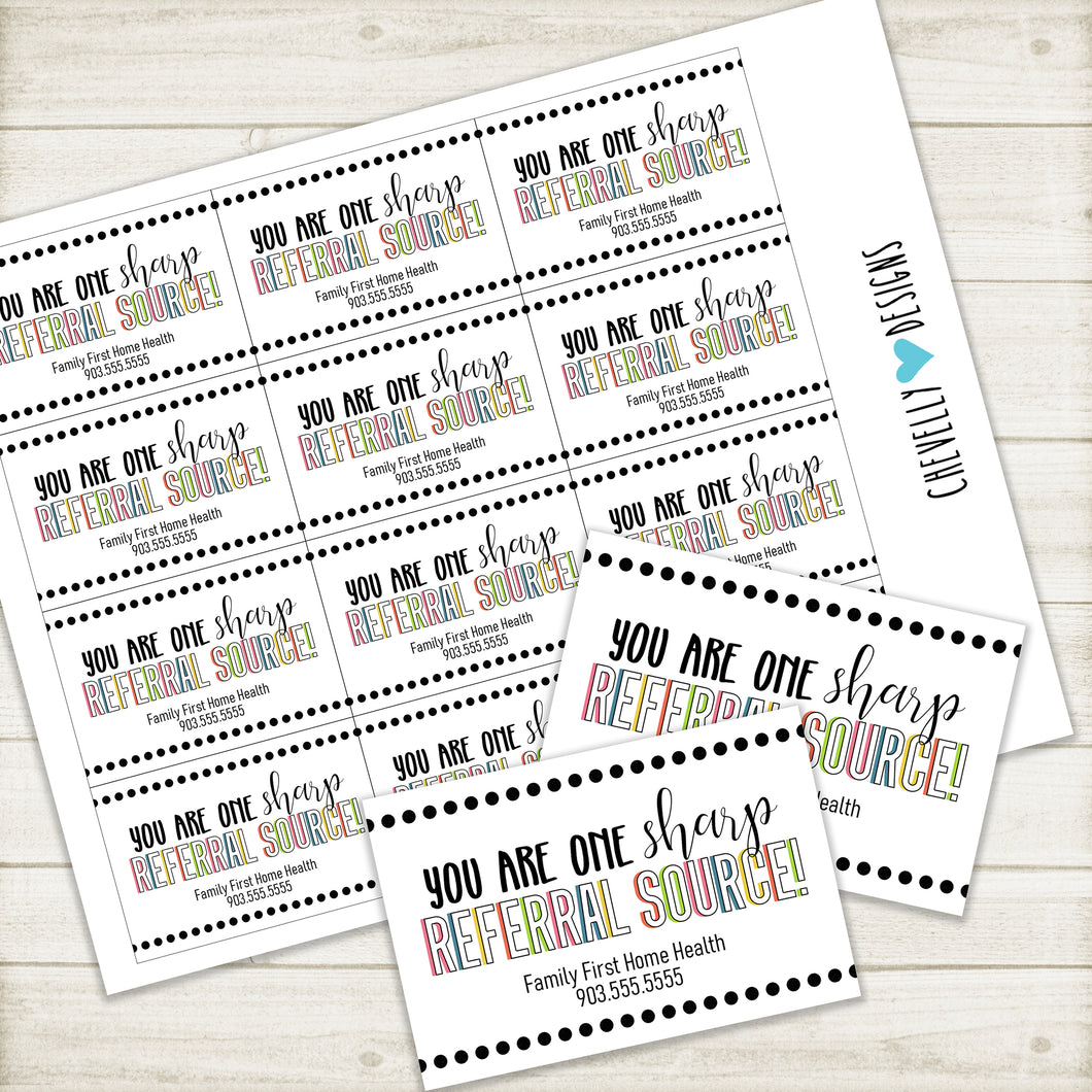 Personalized - Sharp Referral Source Gift Tags  ***Printable Digital File***