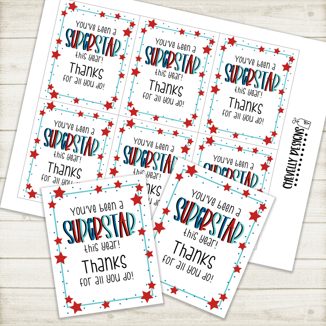 You've been a Superstar this Year - Appreciation Gift Tags >>>Instant Digital Download<<<