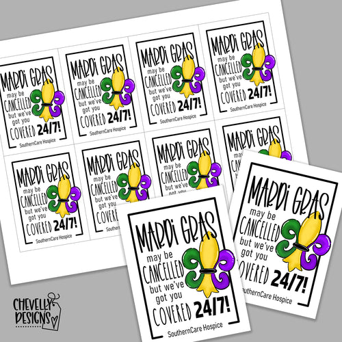 Personalized - Mardi Gras Cancelled Gift Tags ***Printable Digital File***