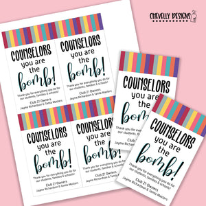 Personalized - Counselor Appreciation Gift Tags ***Printable Digital File***