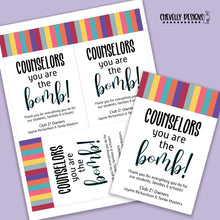 Load image into Gallery viewer, Personalized - Counselor Appreciation Gift Tags ***Printable Digital File***