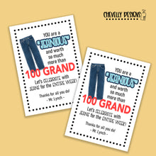 Load image into Gallery viewer, Personalized - Jeans Week Teacher Appreciation Gift Tags ***Printable Digital File***