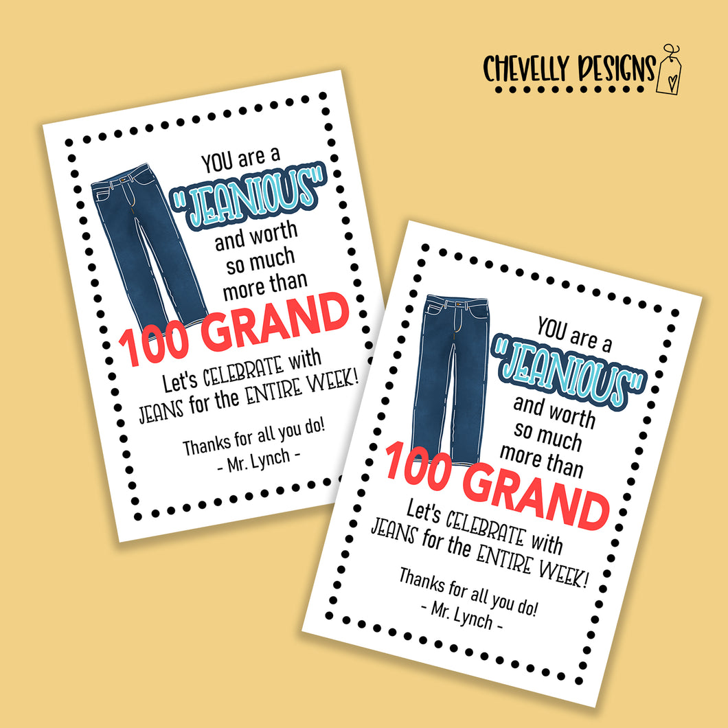 Personalized - Jeans Week Teacher Appreciation Gift Tags ***Printable Digital File***