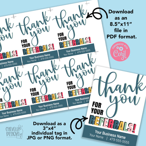 Personalized - Thank You Referral Gift Tags ***Printable Digital File***