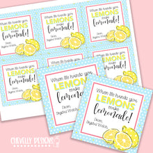 Load image into Gallery viewer, Personalized - Lemons make Lemonade Gift Tags ***Printable Digital File***