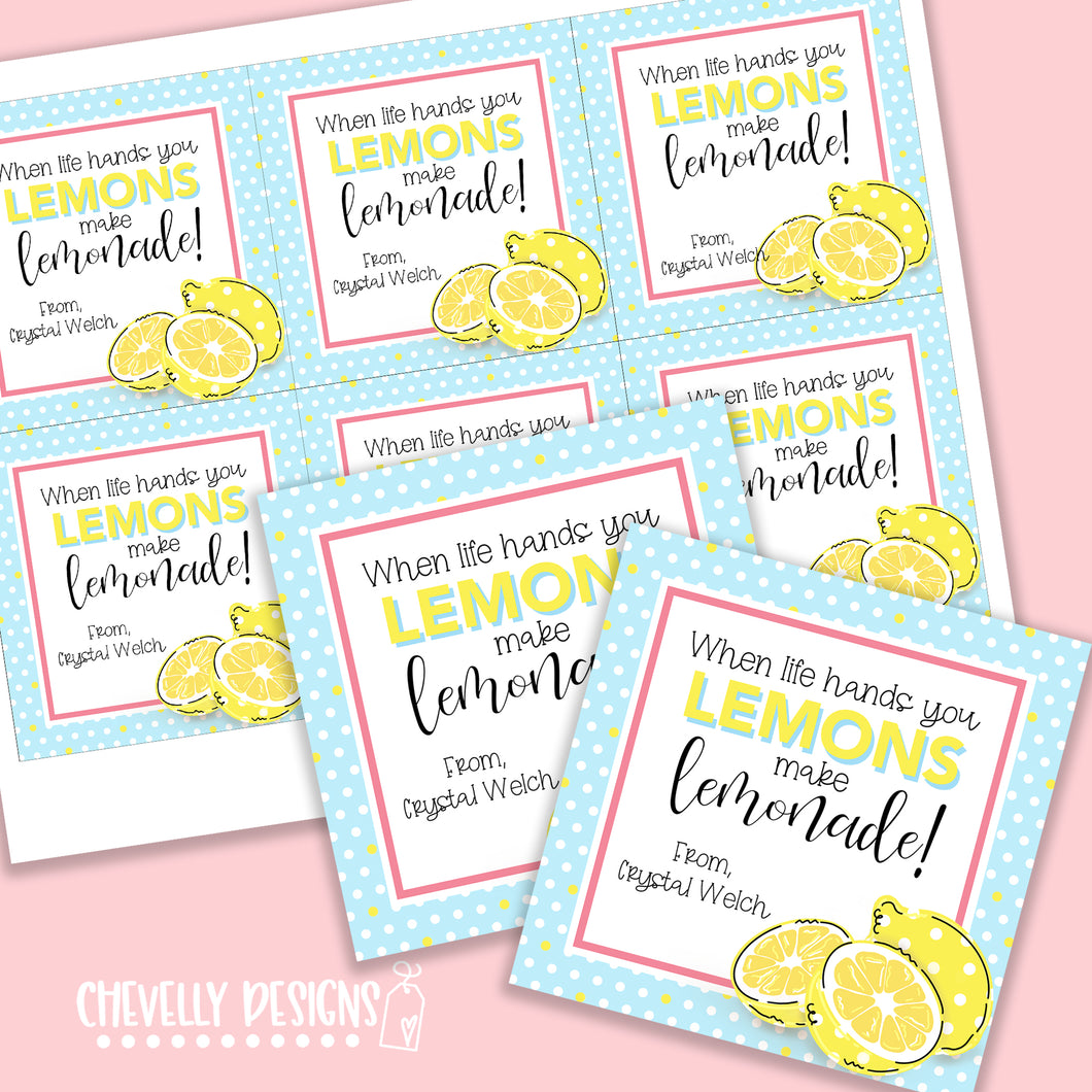 Personalized - Lemons make Lemonade Gift Tags ***Printable Digital File***