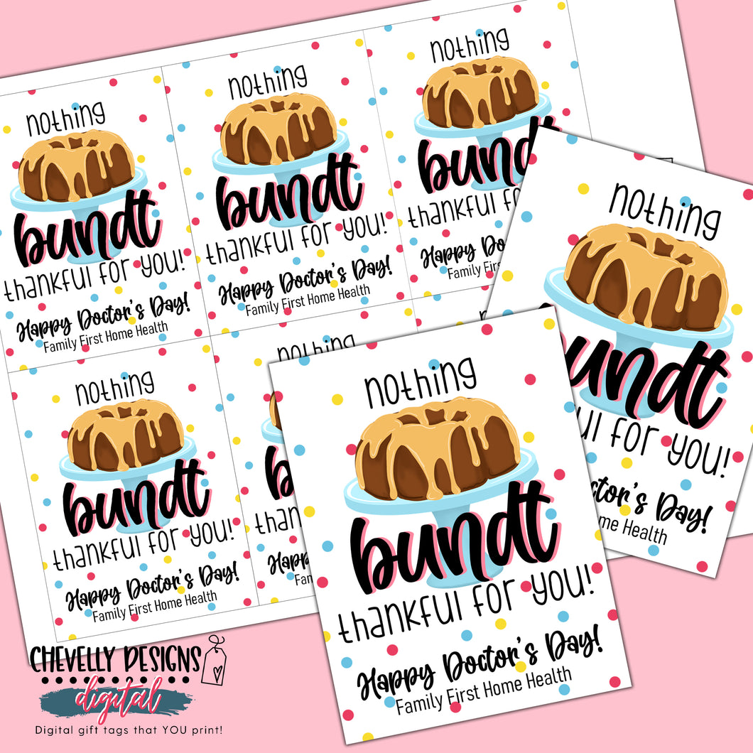 DIGITAL - Personalized - Nothing Bundt Thankful Gift Tags - Printable File