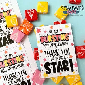 Printable Bursting with Appreciation - Starburst Gift Tags >>>Instant Digital Download<<<