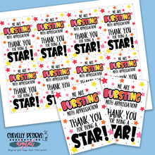 Load image into Gallery viewer, Printable Bursting with Appreciation - Starburst Gift Tags >>>Instant Digital Download<<<