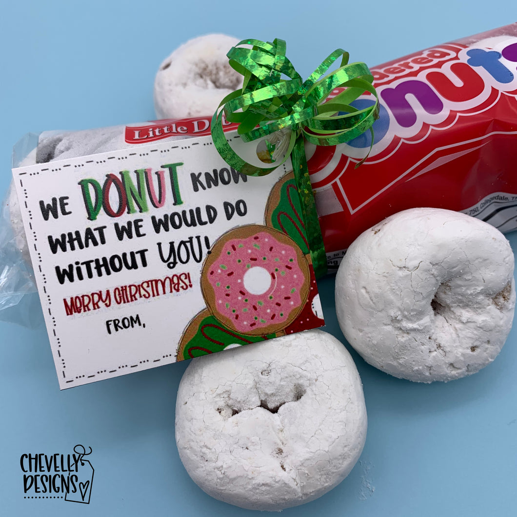 Printable DONUT Appreciation Christmas Gift Tags  Appreciation >>>Instant Digital Download<<<