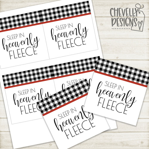 Printable - Sleep in Heavenly Fleece - Gift Tags in Black and White Buffalo Check >>>Instant Digital Download<<<