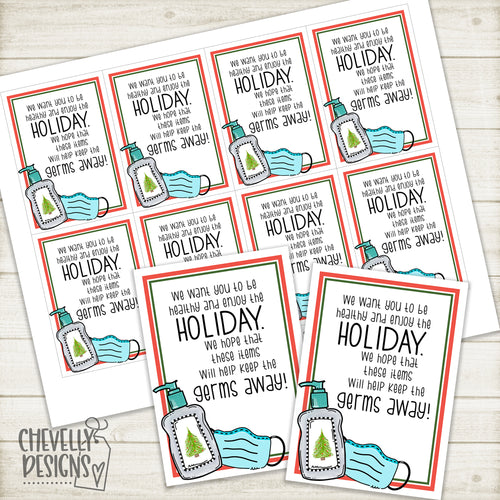 Printable Healthy Germ Free Holiday Gift Tags >>>Instant Digital Download<<<