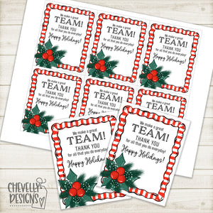 Printable Christmas Gift Tags - We make a Great Team >>>Instant Digital Download<<<