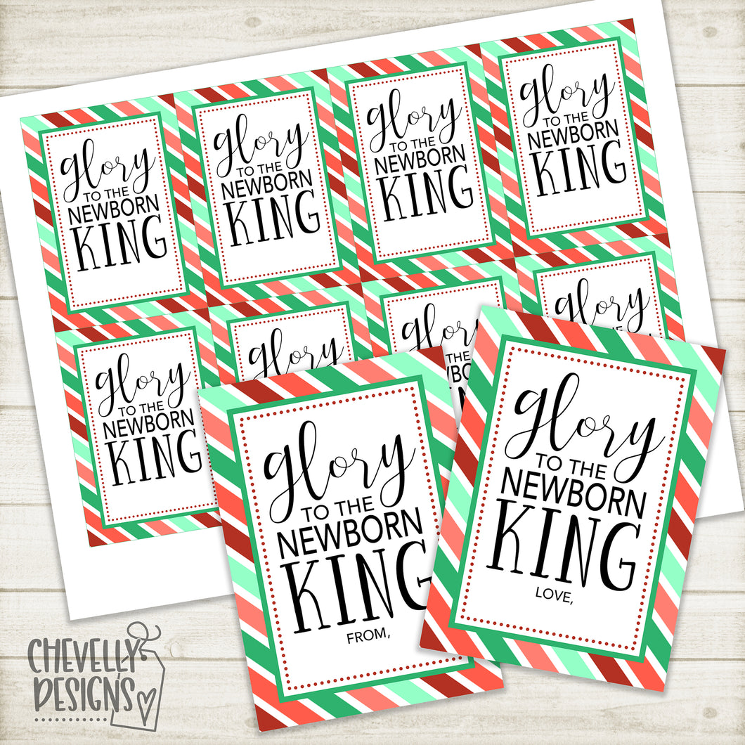 Printable Christmas Gift Tags - Glory to the Newborn King with Holiday Frame >>>Instant Digital Download<<<