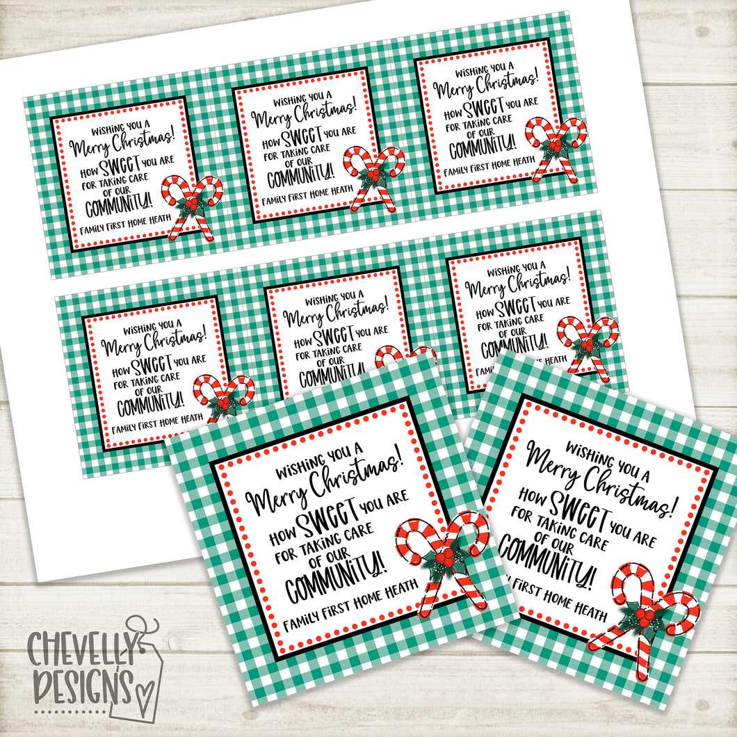 Personalized - Christmas Gift Tags for Community Service Worker Gifts ***Printable Digital File***