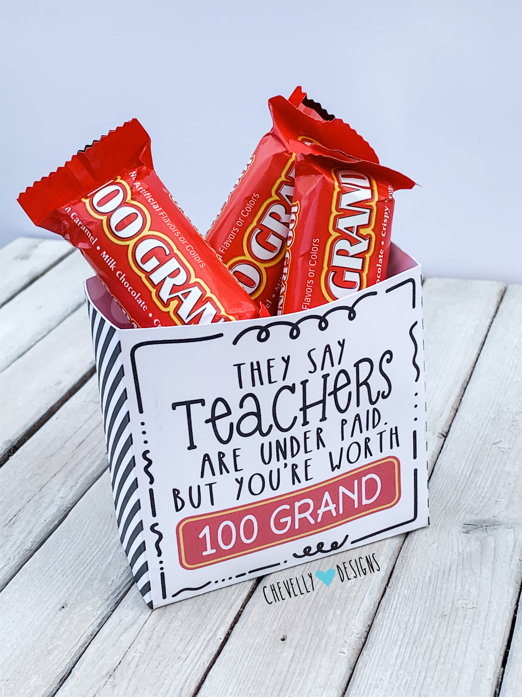 Printable Teacher Appreciation Gift Bag/Box for 100 Grand Candy - Small Treat Bag | Instant Digital File