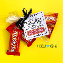 Load image into Gallery viewer, Teacher Appreciation Gift Tags for 100 Grand Candy Bars | Instant Digital Download