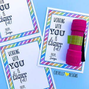 "Personalized ""Working with You is de-LIGHT-ful"" Gift Tags ***Printable Digital File***"