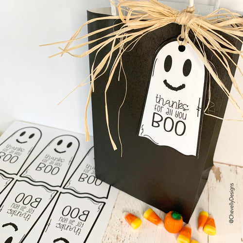 Printable - Thanks for all you BOO Ghost Gift Tags for Halloween - Instant Digital Download