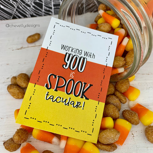 Instant Digital Download - Printable Candy Corn Gift Tags for Halloween - Working with you is SPOOK-tacular