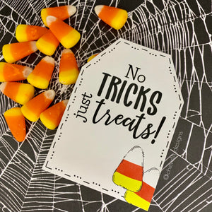 Printable Candy Corn Gift Tags - No Tricks just Treats - Instant Digital Download