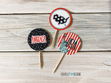 "Load image into Gallery viewer, Printable 4th of July 2"" Cupcake Toppers - Circle Tags 
