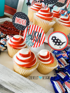 "Printable 4th of July 2"" Cupcake Toppers - Circle Tags 