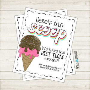 Personalized Printable 8x10 Ice Cream Appreciation Sign - Digital File