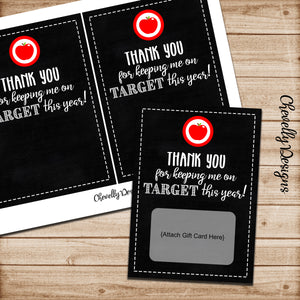 Thank You Target Gift Card Printable for Teacher Appreciation - Instant Digital Download