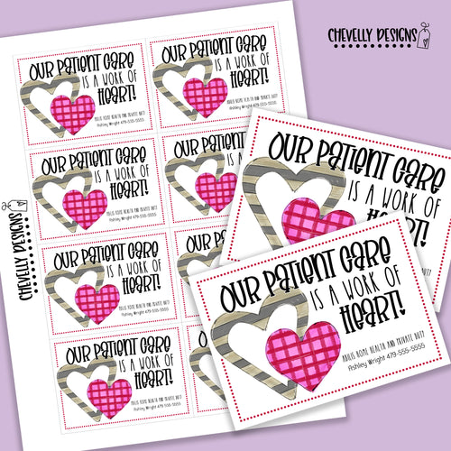 Personalized - Our Patient Care is a Work of Heart - Gift Tags ***Printable Digital File***