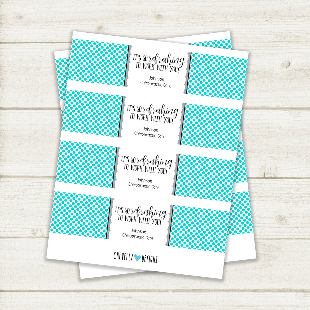 Personalized Water Bottle Labels (So Refreshing to Work with You) Coworker Employee Appreciation | Printable - digital file