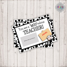 Load image into Gallery viewer, Cow Teacher Appreciation Gift Card Printable | Printable - Instant Digital File
