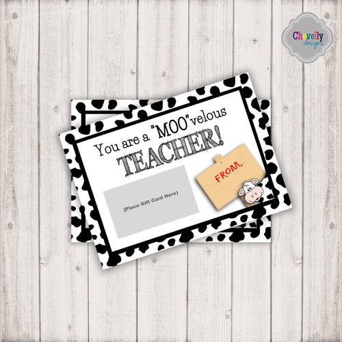 Cow Teacher Appreciation Gift Card Printable | Printable - Instant Digital File