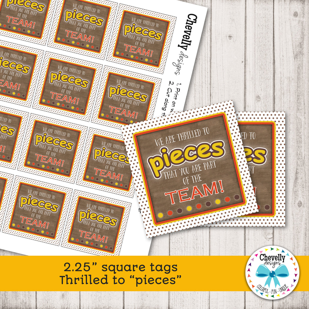 Thrilled to PIECES | square hang tags | co-worker gift | boss gift | reeses candy | HT041
