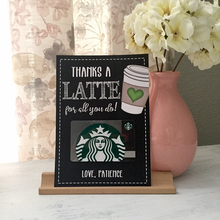 Personalized Thanks a LATTE Gift Card Printable | End of School | Teacher Appreciation | Coffee gift for coworker, boss, friend