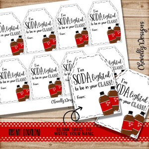 SODAlighted to be in your CLASS Printable Soda Pop Gift Tags for Back to School Gift - Instant Digital Download