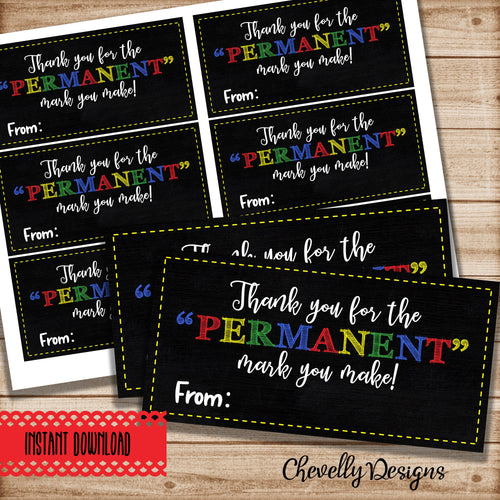 Printable Permanent Marker Appreciation Gift Tags for Teachers and Employees - Instant Digital Download