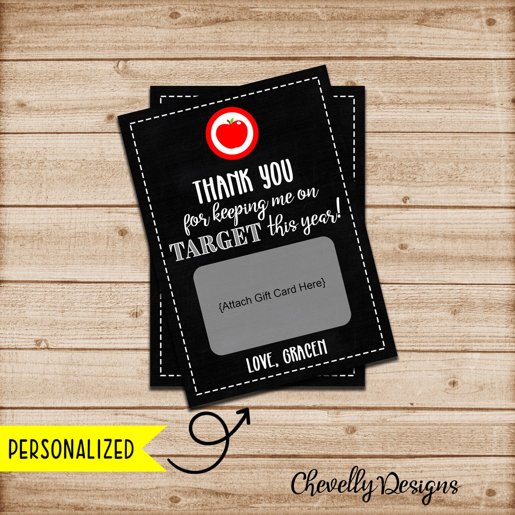 Personalized Teacher Appreciation Target Gift Card Printable - 5x7 - Printable Digital File