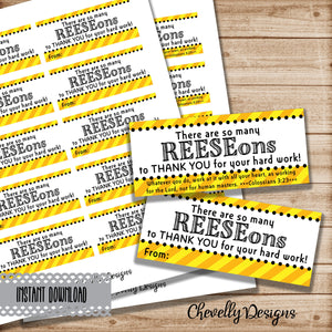 Printable Reese's Thank You Gift Tags | Coworker, employee, boss, assistant, teacher, staff Appreciation Gifts | Instant Digital File