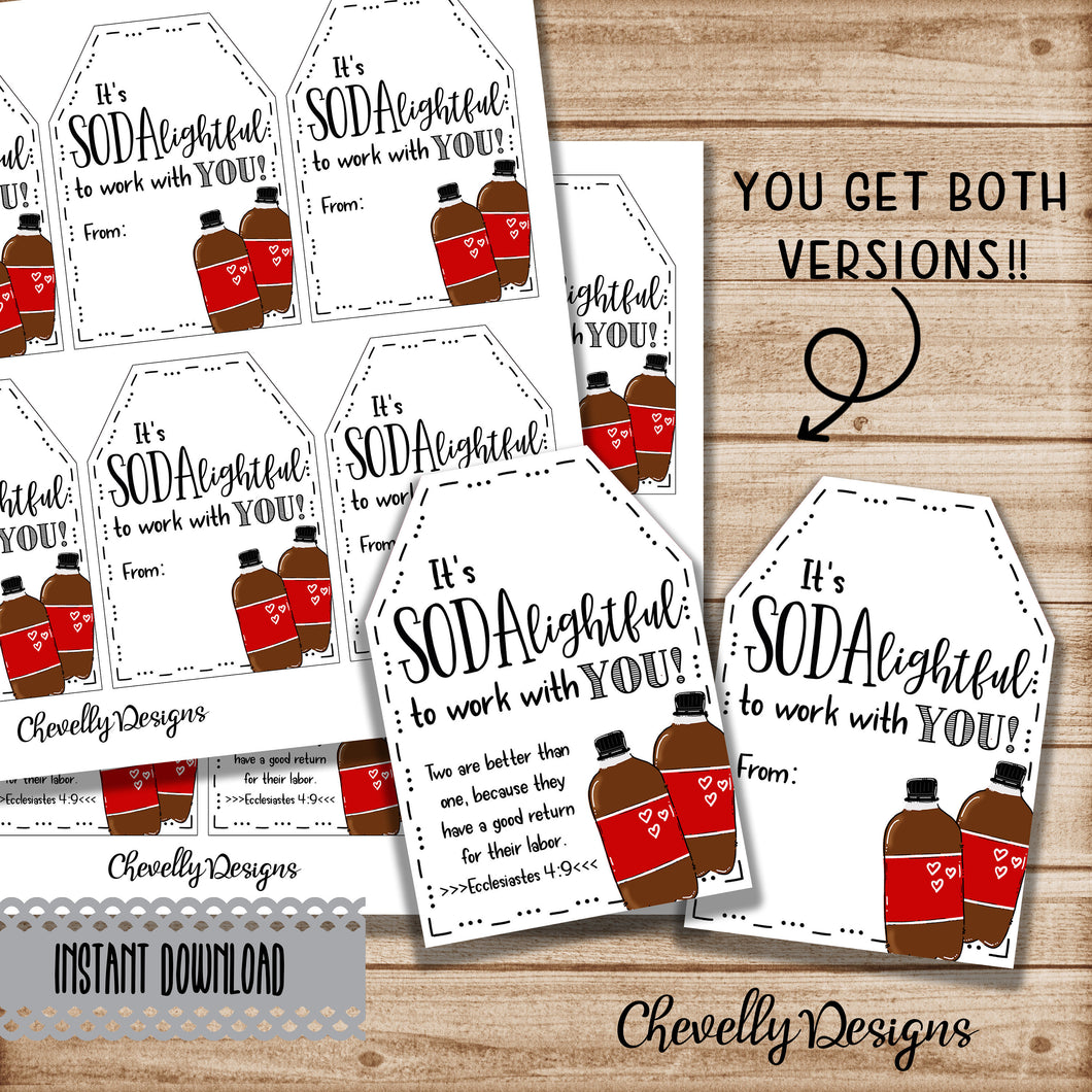 SODAlighted to Work with You - Printable Soda Pop Gift Tags - Instant Digital Download