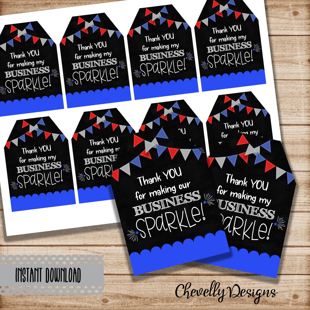 Printable 4th of July Customer Appreciation Gift Tags for Independence Day | Instant Digital Download
