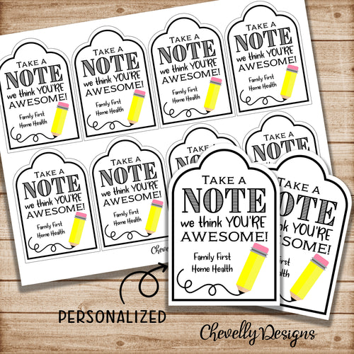 Personalized Take a NOTE Gift Tags for Teacher Appreciation, Bosses Day, and Staff Appreciation | Printable Digital File