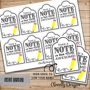 Take a NOTE Printable Gift Tags - Instant Digital Download