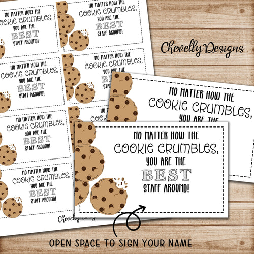 Staff Appreciation Cookie Gift Tags | Printable - Instant Digital Download